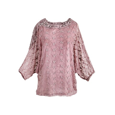 Women's Lace Top - Petit Fleur Print 3/4 Sleeve Shirt with Detachable Tank