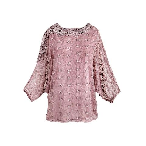 Women's Lace Top - Petit Fleur Print 3/4 Sleeve Shirt with Detachable Tank
