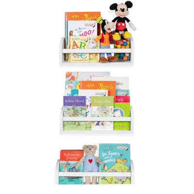 Wallniture Lissa Wood Wall Shelves for Book and Toy Storage (Set of 3)