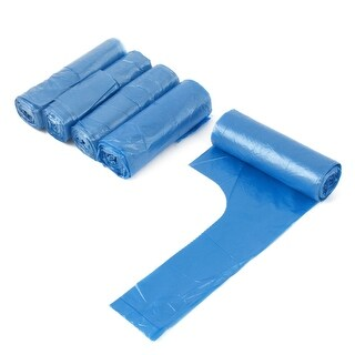 Home Kitchen Polyethylene Hand-held Trash Container Garbage Bags Blue 5 Rolls