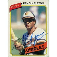 Signed Singleton Ken Baltimore Orioles 1980 Topps Baseball Card Light Smudging of the signature aut