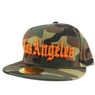 Los Angeles City Camo Orange Logo Snapback Hat Cap by CapRobot
