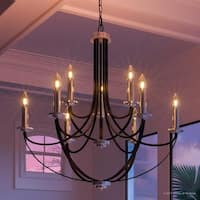 """Luxury Mid-Century Modern Chandelier, 31.5""""H x 32""""W, with Colonial Style, Silver Trimmed Design, Black Silk Finish"""