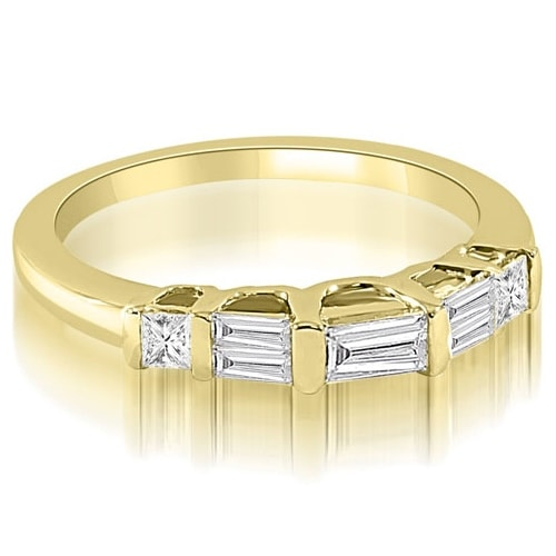 0.40 cttw. 14K Yellow Gold Bar Set Baguette Diamond Wedding Band