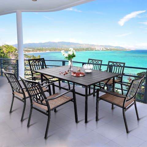 """MFSTUDIO 7 Pieces Patio Dining Set with 6 Textilene Stackable Chairs and 1 Steel Frame Slat Table with 1.57"""" Umbrella Hole"""
