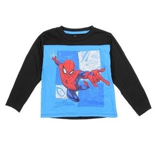 Spiderman Little Boys Aqua Red Super Hero Print Long Sleeve Trendy Top