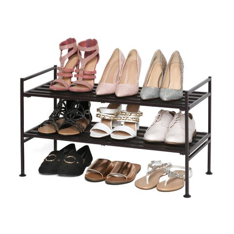 Seville Classics Espresso 2-Tier Resin Slat Stackable Shoe Rack