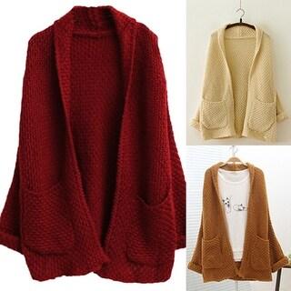 Women Oversized Loose Knitted Sweater Batwing Sleeve Top Cardigan Outwear