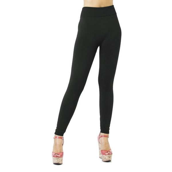 """3"""" Waist French Terry Comfortable Stretch Leggings, S/M and L/XL"""