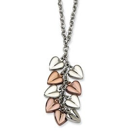 Chisel Stainless Steel Polished & Rose Gold Plated Hearts 22 Inch Necklace (2 mm) - 22 in
