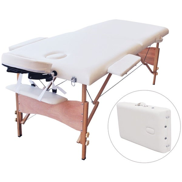 Shop costway 84 l portable massage table facial spa bed tattoo w free carry case white free - Portable massage table reviews ...