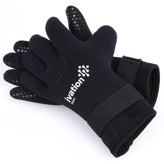 Ivation Wetsuit Gloves - 3mm Premium Neoprene Five Finger Diving Gloves for High-Performance Watersp