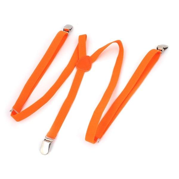 Tasharina Unisex Elastic Fibre Y Back Adjustable Suspenders Braces Orange