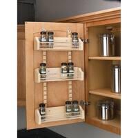 "Rev-A-Shelf 4ASR-18 4ASR Series Adjustable Door Mount Spice Rack with 3 Shelves for 18"" Wall Cabinet - Natural Wood - N/A"