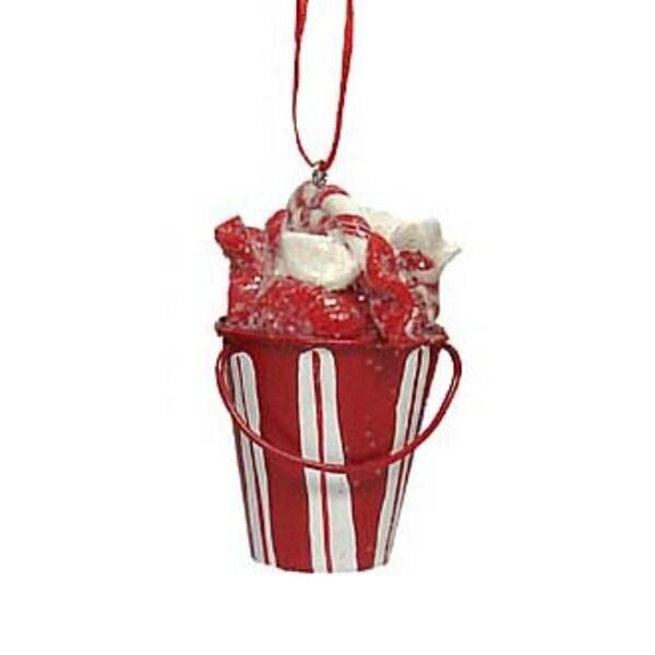 """2.75"""" Peppermint Twist Sugar Candy Cane Bucket Christmas Ornament"""