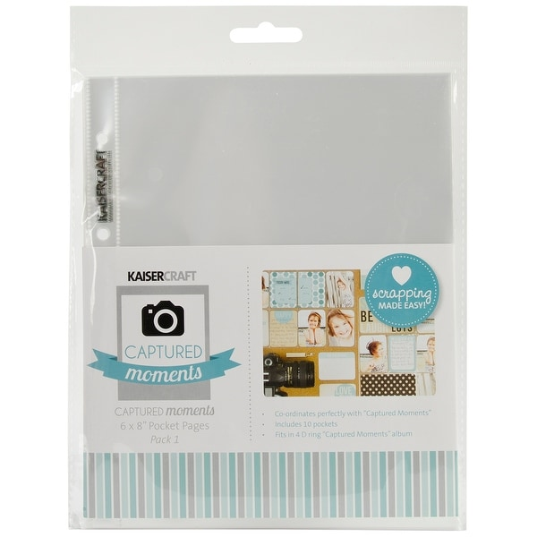 "Kaisercraft Captured Moments Pocket Pages 6""X8"" 10/Pkg-(1) 6""X8"" Pocket"