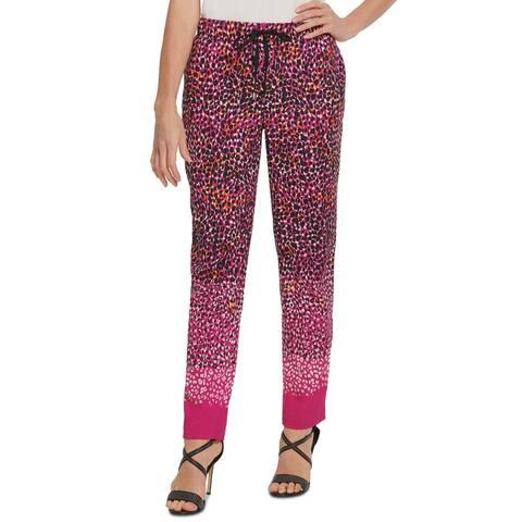 DKNY Womens Pants Medium Drawstring-Waist Leopard Print Slim Leg