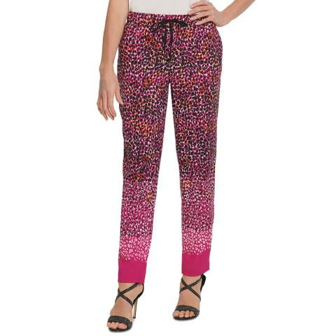 DKNY Womens Pants Pink Size XS Drawstring Elastic-Waistband Print