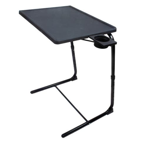 Porch & Den McNew Adjustable/Folding TV Tray w/ Sliding Cup Holder