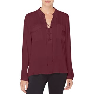Catherine Malandrino Womens Tunic Top Lace Up Front Patch Pockets