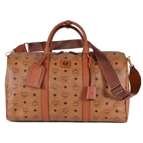 MCM Cognac Coated Canvas Visetos Logo Medium Travel Weekender Duffel Bag - Beige/Brown