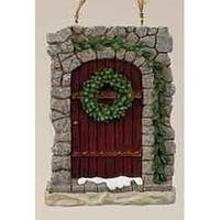 """Christmas Garden """"All Hearts Come Home"""" Stone Door Ornament with Wreath - Brown"""