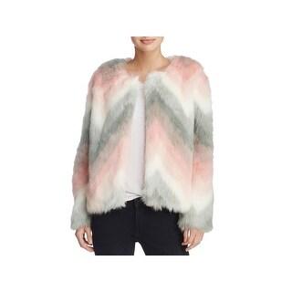Melody Womens Faux Fur Coat Fall Chevron