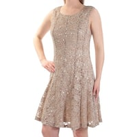 CONNECTED Womens Beige Sequined Lace Sleeveless Scoop Neck Above The Knee Fit + Flare Evening Dress  Size: 6