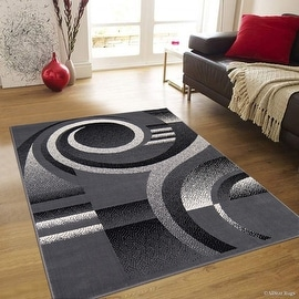 "Allstar Grey Area Rug. Contemporary. Abstract. Traditional. Formal. Shapes. Spirals. Circles (5' 2"" x 7' 1"")"