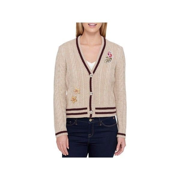 5f37c0c072 Shop Tommy Hilfiger Womens Cardigan Sweater Contrast Trim Cable-Knit ...