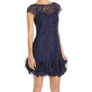Jessica Simpson NEW Blue Women 4 Floral Lace Ruffle Hem Sheath Dress