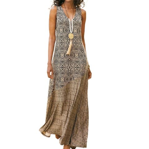 Women Loose Dress Vintage Geometric Print V Neck Sleeveless Dress For Beach