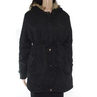 Macr & Steve Womens Coat Black Size Medium M Faux Fur Hood Full Zip