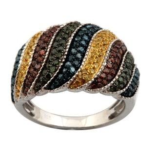 Gorgeous 1.05 Carat Round Brilliant Cut Multi Color Diamond Designer Ring