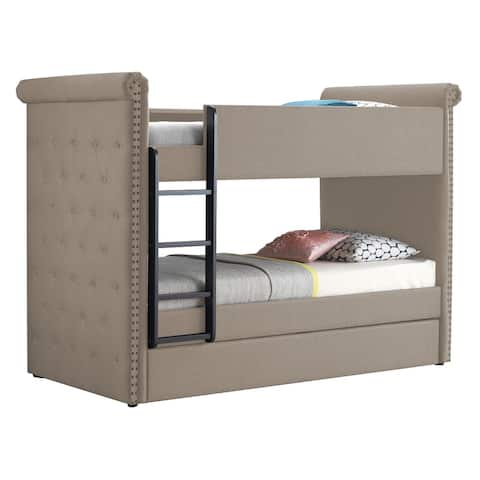 Chesterfield Design Twin Size Bunk Bed with Nailhead Trim, Beige and Black