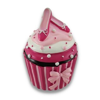 Pink and White Ballet Slipper Cupcake Coin Bank