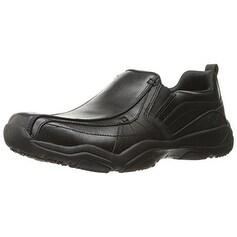 Skechers USA Men's Larson Berto Slip-On Loafer, Black Leather, 7.5 M US - Black Leather