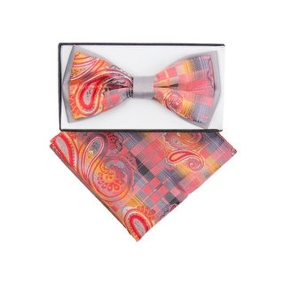 Men's Grey, Hot Pink Paisley Pre-tied Adjustable Two-Tone Bow tie Hanky - One size