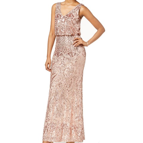 Betsy & Adam Pink Womens Size 8 Sequined Blouson Gown Dress
