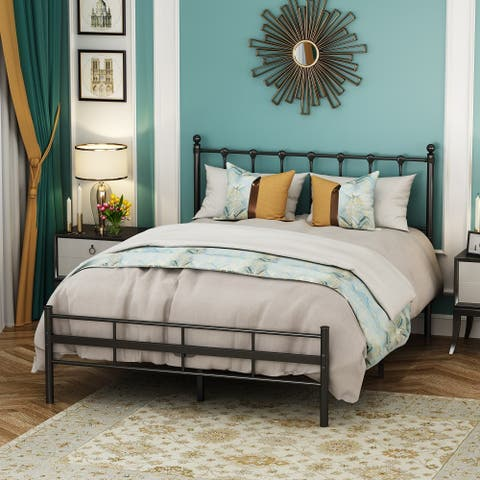 Metal Bed Frame with Vintage Headboard and Footboard Stable Steel Slat