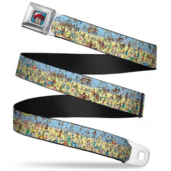 Waldo Bottom Crop Full Color Blue Where's Waldo? On The Beach Webbing Seatbelt Belt