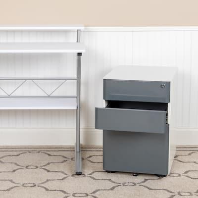 Modern 3-Drawer Mobile Locking Filing Cabinet Storage Organizer