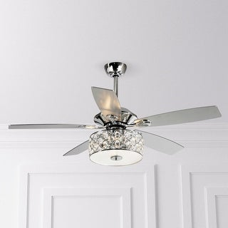 52-inch Chrome 5-Blade Crystal Chandelier Ceiling Fan with Remote