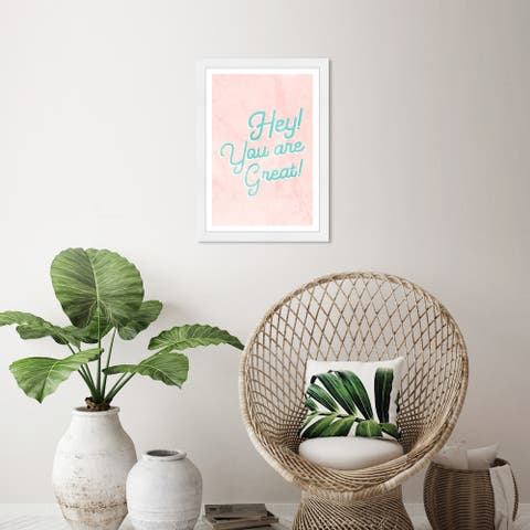 Wynwood Studio 'You Are Great' Typography and Quotes Green Wall Art Framed Print