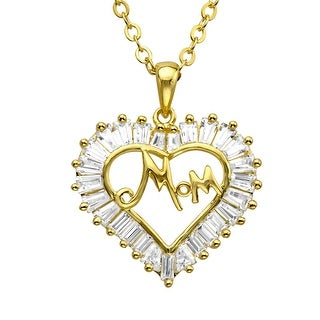 Mom' Heart Pendant with Swarovski Zirconia in 14K Gold-Plated Sterling Silver
