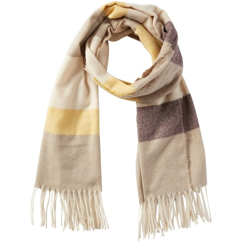 5.75' Yellow and Beige Stylish and Fashionable Tickled Pink Jack Stripe Fringe Scarf