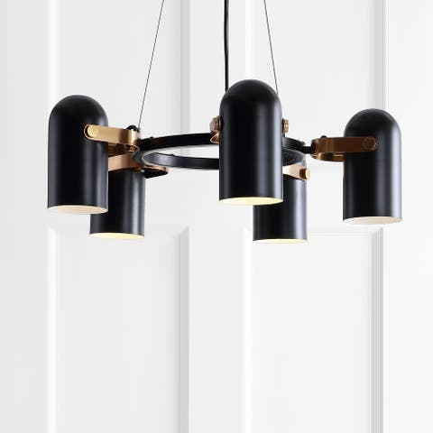 "Eugenio 24.5"" Adjustable Metal LED Pendant, Black/Brass Gold by JONATHAN Y"