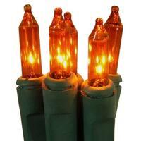 Orange Perm-O-Snap Mini Christmas Lights - Green Wire