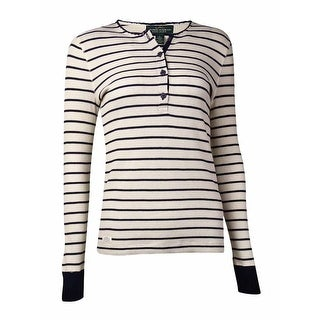 Lauren Ralph Lauren Women's Striped Waffle Knit Henley (S, Cream Multi) - s