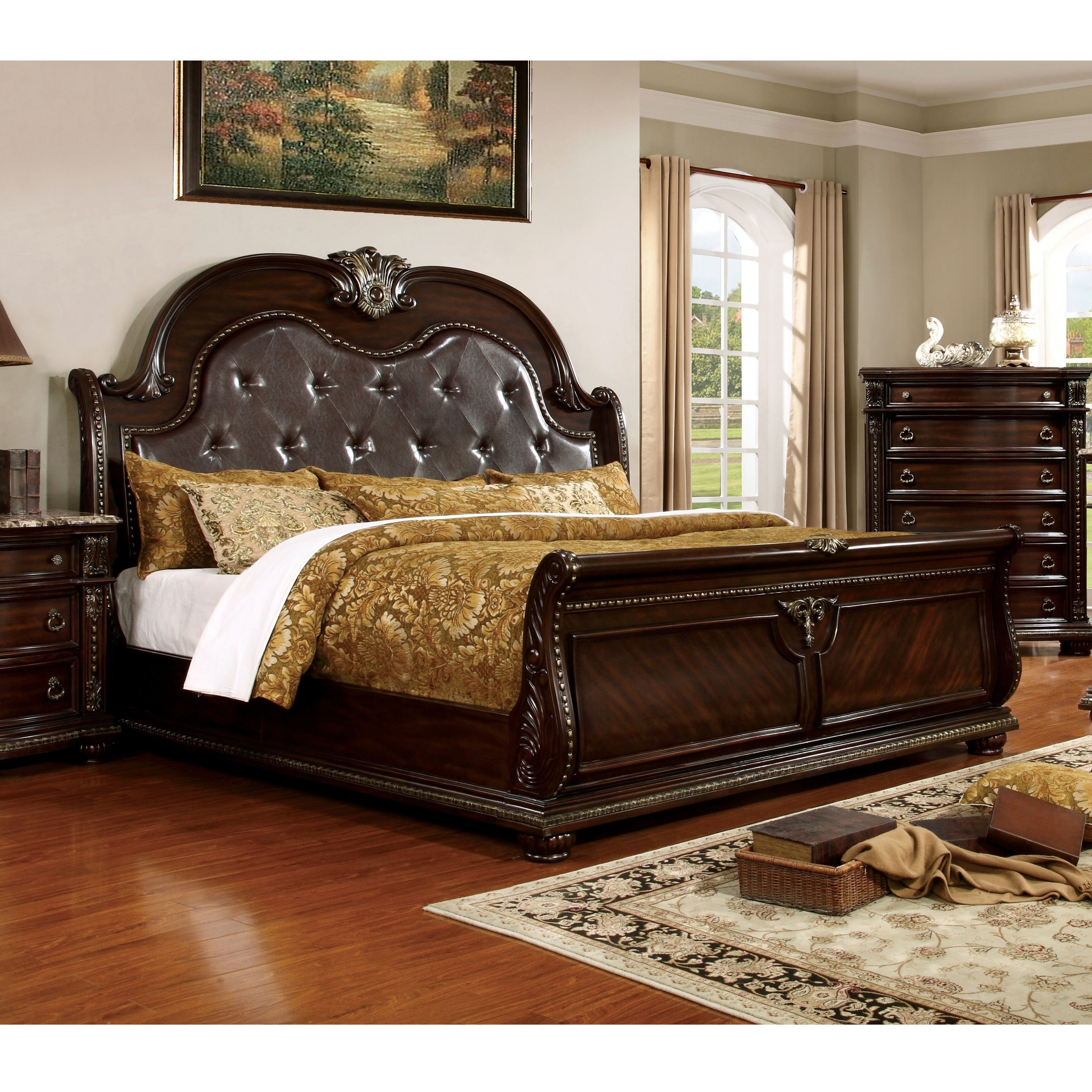 - Shop Furniture Of America Dame Traditional Cherry Faux Leather